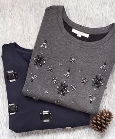 Pictured: Embellished Drop Shoulder Sweatshirt, Square Cabochon Sweatshirt