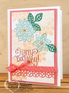Stampin' Up! Flourishing Phrases flower birthday card featuring new 2016 In Colors, Flirty Flamingo ribbon, and new Flourish Thinlit flowers by Patty Bennett at pattystamps.com