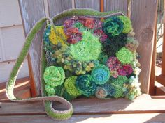 This is my most recent freeform crochet and knit purse - I love this green.