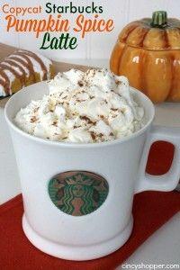 Copycat Starbucks Pumpkin Spice Latte Recipe And many more great copy cat recipes