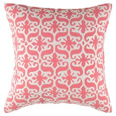 Bring a bright pop of pattern to your sofa or favorite reading nook with this cotton pillow, featuring an embroidered scrolling motif.