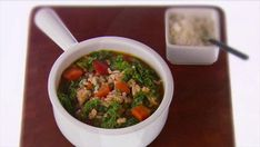 Lean ground turkey, brown rice and kale make this a healthy, hearty soup.