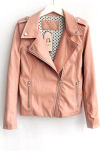 Pink Lapel Long Sleeve Zipper PU Leather Jacket  Price :$65.78