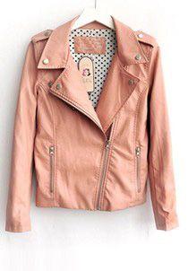 Pink Lapel Long Sleeve Zipper PU Leather Jacket  Price :$65.78
