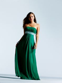 Faviana 2011 Prom Dresses Forest Green Beaded Chiffon Strapless Gown (if you decide against tea length BM gowns)