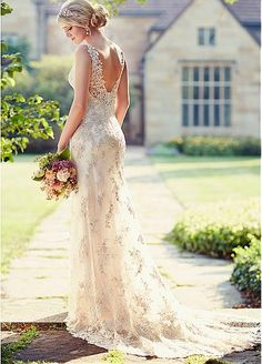 Elegant Tulle Spaghetti Straps Neckline Natural Waistline Sheath Wedding Dress With Beaded Lace Appliques
