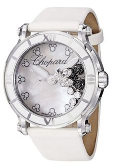Chopard 288524-3004 LWH Watches,Women's Happy Sport Round MOP with Floating Diamonds & Mickey Mouse Head Dial White Satin with Leather, Dres...