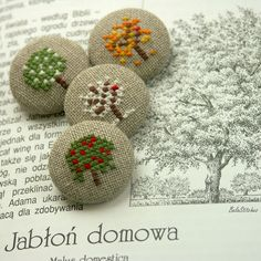 Fabric Covered Buttons ~ Bela Stitches: Cross Stitching / cross stitch