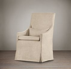 """Slipcovered Slope Arm Dining Armchair ($469) Dimensions: Overall: 24""""W x 28""""D x 41""""H Seat: 19""""H"""