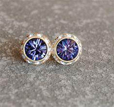 Tanzanite Earrings  Purple Earrings  Swarovski by MASHUGANA, $18.50