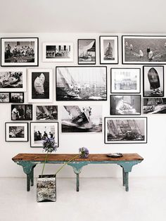 vintage bench + gallery wall