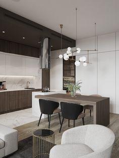 Flat on Pechatnikov on Behance Kitchen Room Design, Modern Kitchen Design, Living Room Kitchen, Home Decor Kitchen, Kitchen Furniture, Kitchen Interior, New Kitchen, Home Interior Design, Home Kitchens