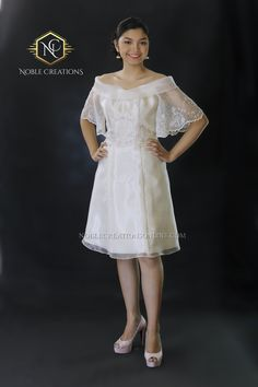 Filipiniana Top and Dress (Kultura), Modern Filipiniana Gown, Filipiniana Wedding, Civil Wedding Dresses, Grad Dresses, Short Dresses, Kebaya, Maria Clara Dress Philippines, Filipino Fashion, Silk Organza