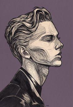 #graphic, traditional, традишка, #line, nk, #boy, парень, portrait, портрет, графика