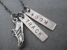 RUN TRACK 400 METER Necklace - Running Necklace on 18 inch gunmetal chain - Track Jewelry on Wanelo