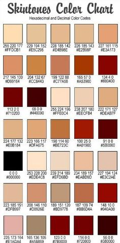 Rgb Values For Skin Tones Guidelines Caucasian R  B G  B