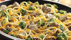 Get ready for a speedy skillet dinner with ground beef, veggies, a creamy Alfredo sauce and cheesy top.