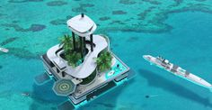 Migaloo Submersible Yacht is the first private submarine superyacht, combining a private floating island. The Migaloo Submersible Yacht combines the luxury of a… Floating Island, Floating House, Kokomo Island, Portable Island, Yacht Design, Digital Trends, Futuristic Architecture, Floating Architecture, Unique Architecture