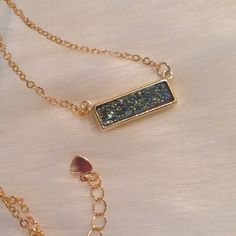 """25%OFF BUNDLES Green Druzy Necklace Gorgeous green rectangular druzy necklace.  The chain length is 18"""" with a 1"""" extender.  The druzy and chain are gold plated. Jewelry Necklaces"""