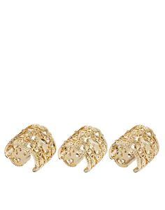 ASOS Pack of Three Filigree Band Rings