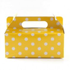 Yellow with White Polkadot Gloss Party Box Party In A Box, Online Gifts, Event Decor, Make It Simple, Lunch Box, Polka Dots, Easter, Yellow, Handmade Gifts