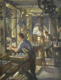 Whitefriars Glass Works, Cutting Shop, Using Belt Driven Lathes (1920)