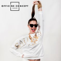 Tee Trend sauvage sweater...white and gold! http://officineconcept.com/it/donna/2354-felpa-con-stampa-sauvage-bianca.html