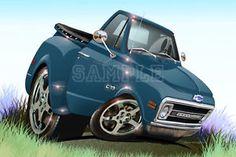 Cartoons Pickup Trucks   Pickup Truck Automotive Cartoon Car Art Print Artist Direct Ebay