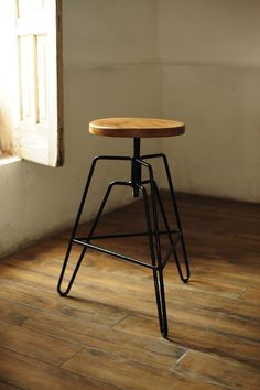 Handcrafted industrial wood steel design adjustable height barstool Zaragoza stool by RepublicaFurniture on Etsy