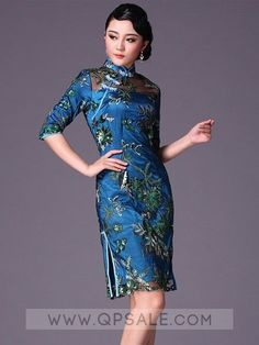 Blue Short Cheongsam   Qipao   Chinese Evening Dress Cheongsam pattern 70140b65b9f7