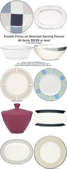 Foolish prices that are no joke! Selected serving pieces are $9.99 and under until 4/2/16 at 10am EST! http://noritakechina.com/foolish-prices.html