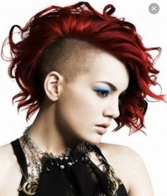 Red curly Bob with side shave