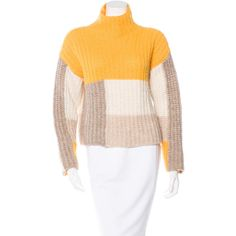 Pre-owned Ganni Colorblock Turtleneck Sweater ($95) ❤ liked on Polyvore featuring tops, sweaters, yellow, yellow turtleneck sweater, yellow top, yellow sweater, color block tops and turtle neck top