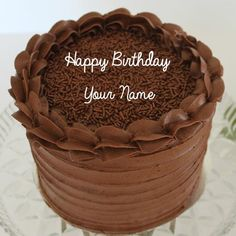 Write Name on Hand Made Choco Chips Birthday Cake