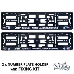 Pair Black ABT TUNING AUTOHAUS AUDI Number Plate Surrounds Holder Frame+Fixing in Vehicle Parts & Accessories, Car Parts, Exterior & Body Parts | eBay