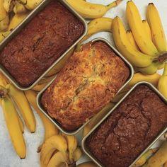 3 maneiras de fazer pão de banana, eles ficam uma delícia e são uma ótima opção de lanche da tarde.