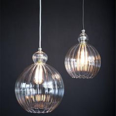 Ceiling Lights Ribbed Glass Globe Classic Pendant Ceiling Light Ribbed Glass Globe Classic Pendant C Clear Glass Pendant Light, Lantern Pendant Lighting, Wooden Chandelier, Globe Pendant Light, Art Deco Lighting, Beaded Chandelier, Dining Room Lighting, Kitchen Lighting, Lighting Ideas
