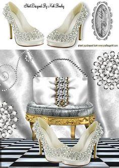 WHITE SHOES WITH DIAMOND HANDBAG 8X8 on Craftsuprint - Add To Basket!