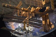 %u2014 Ripley's Believe It or Not! matchstick model of the International Space Station is suspended in front of Space Center Houston's other scale replica of the orbiting outpost. <br />