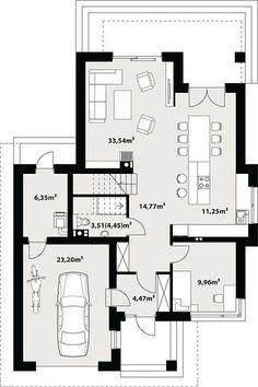 Projekt domu Karat 157,99 m² - koszt budowy - EXTRADOM Duplex House Design, Architecture Design, House Plans, Floor Plans, How To Plan, Art, Houses, Modern, City