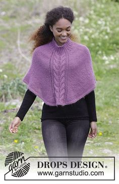 Elizabeth / DROPS 184-29 - Knitted poncho with cables and rib in neck, worked top down. Sizes S - XXXL. The piece is worked in DROPS Baby Merino and DROPS Kid-Silk.