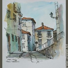 Painted on location in Porto Portugal.  A nice, simple street in this beautiful city  . #town #urban #buildings #landscape #street #art #artist #original #watercolor #watercolour #painting #paintingaday #penandink #waterbrush #pleinaire #urbansketch #urba