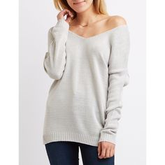 Charlotte Russe V-Neck Tunic Sweater ($27) ❤ liked on Polyvore featuring tops, sweaters, light gray, long sleeve v neck sweater, v neck sweater, long sleeve tops, long sleeve v neck top and off the shoulder sweater