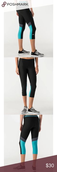 UA HeatGear Capri Pant -Brand new, no tags.  -Super-light Under Armour HeatGear® fabric delivers superior coverage. -Lightweight, 4-way stretch construction. -Black/Blue/Silver.  -Material: Body 80% polyester 20% elastane. Insert: 92% polyester 8% elastane. Under Armour Pants Capris