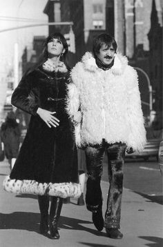 Sonny & Cher on the streets of New York in 1968