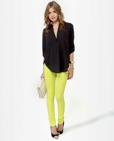 I most likely wouldn't wear the neon pants, but the outfit is super cute