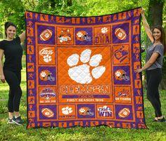 Clemson Tigers Quilt Blanket For Football Fan Gift Idea Football Crochet, Football Quilt, Gifts For Football Fans, Football Crafts, Notre Dame Football, Clemson Tigers, Auburn Tigers, Bird Barn, Barn Owls