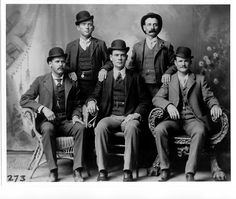 Butch Cassidy and the Sundance Kid. Butch Cassidy seated far right. Sundance Kid seated far left.Butch Cassidy and the Sundance Kid. Butch Cassidy seated far right. Sundance Kid seated far left. Sundance Kid, Gangsters, Laurel And Hardy, Churchill, Billy Kid, Old West Outlaws, Katharine Ross, The Wild Bunch, Into The West