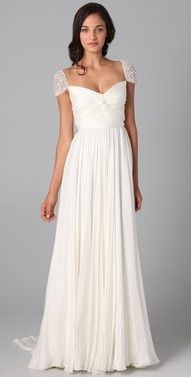 column wedding gown cap sleeves