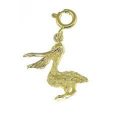 NEW 14k YELLOW GOLD PELICAN BIRD 3D ANIMAL CHARM PENDANT JEWELRY
